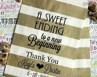 "425 Personalized Gold Metallic Rugby Wedding Candy Bags, Party Favor Bags ""A Sweet Ending to a New Beginning"" with Names and Date"