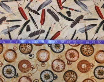 Windham Fabrics. Longfellow Quills & Pens with Watches - Cotton fabric - Choose your cut and print