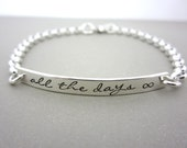 Personalized Bracelet, Personalized Bar Bracelet, Silver Bracelet, Personalized Jewelry, Engraved Bracelet, Engraved Jewelry, All the days