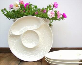 Artichoke Plates Vintage White Majolica Divided Dinner Plate Set 4 Czechoslovakia