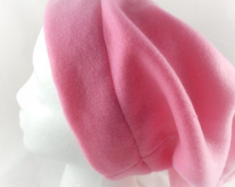 Slouchy Beanie -  Roll up and Carry hat - Beanie  Hat - Pink  Chemo cap - Pink Fleece -  Slouchy Beanie for Women