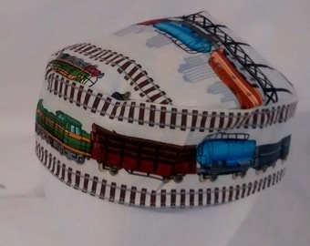 Trains Kippah Yarmulke Cotton Fabric Reversible