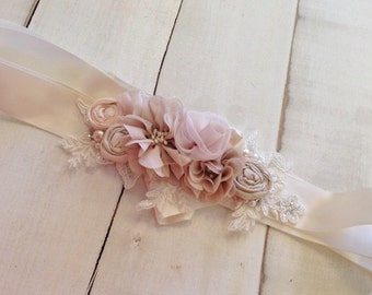 Soft Ivory, Champagne & Pale Blush Sash, Bridal Floral Rosette Sash, Bridal Sash, Floral Bridal Sash, Bridal Accessories, Maternity Sash