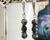 Vintage sterling Obsidian stone Earrings