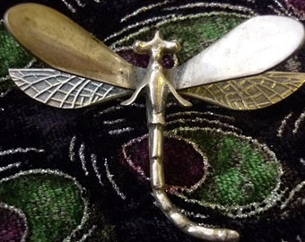 Art Nouveau Dragonfly Sterling silver Brooch,Hammered silver Wings,Ornate Sterling Pin