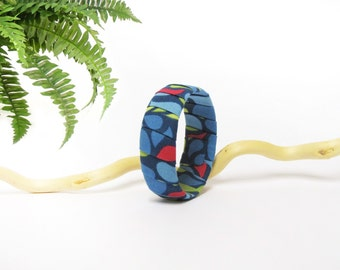 Blue bangle recycled fabric red green