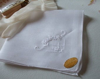 Handkerchief Floral Embroidery Handkerchief Bridal Wedding Swiss Cotton NOS