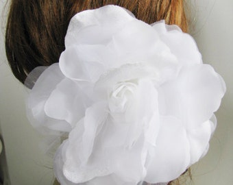 White Over Sized Flower Bridal Hair Piece pin, sash or Brooch Bridal Flower fascinator