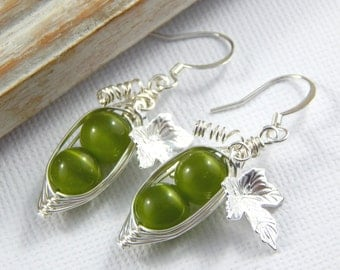 Peas in a Pod, Pea Pod Earrings, Two Peas In A Pod Earrings, Green Cats Eye Earrings
