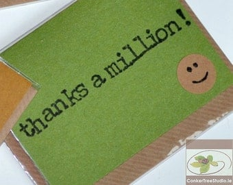 Thanks a Million - Irish Thank You Card Fridge Magnet - Magnetic Hand-Stamped Notes - Handmade in Ireland