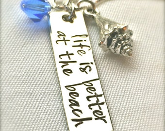 Life Is Better At The Beach Necklace, Mother's Day Gifts, Graduation Gift, Hawaiian Jewelry, Hand Stamped Necklace, Girlfriend, natashaaloha
