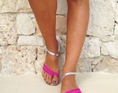 The Delfine sandal - Dark Pink and Silver