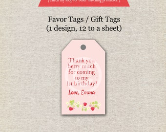 Strawberry Favor Tags - pink and red | Strawberry Thank You Tags | Strawberry Birthday Party | Farm Fresh Birthday Party | digital printable
