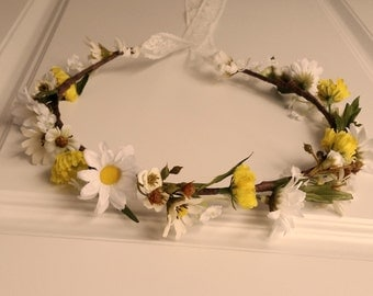 Yellow bridal party headband lace daisy rustic flower crown summer yellow hair wreath accessory spring destination wedding halo accessories
