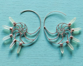 Silver Nautilus Spiral Hoops with Sea foam Green Peruvian Chalcedony points Sacred Geometry Golden Mean Ocean Goddess Mermaid Jewelry