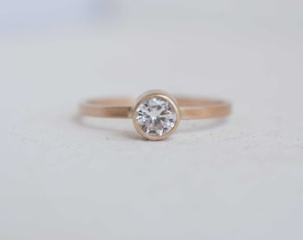 0.4 Ctw Moissanite Solitaire Engagement Ring | 14k Recycled Gold