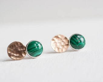 Malachite Disc Earrings   14k Gold Fill