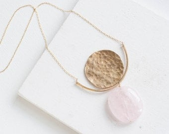Rose Quartz Hammered Crescent Disc Necklace | Brass