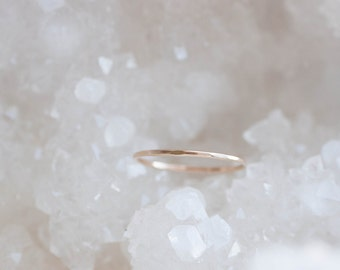 14k Recycled Gold Stacking Ring | Hammered Gold Stacking Band