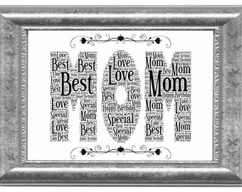 Mom Personalized Birthday Word Art Gift, Mothers Day