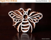 THANKSGIVING SALE Wood Block, Tjaps, Carved wood stamp, Indian wood stamps, Pottery Stamp, Soap Stamp- Bee