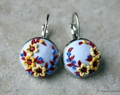 Elegant Polymer Clay Applique Statement Earrings in Yellows, Blues and Oxblood
