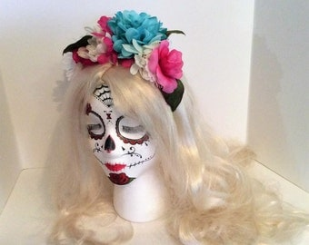 Day of the Dead Costume,Rainbow Headband, Rose Crown,bridal floral crown,Frida Kahlo crown, Dia De Los Muertos Costume,sugar skull headband