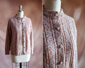 vintage 1960's orange & oatmeal heathered speckle knit ribbed cardigan sweater / size s