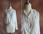 vintage 1910's sheer white cotton batiste embroidered cropped edwardian blouse / size s - m