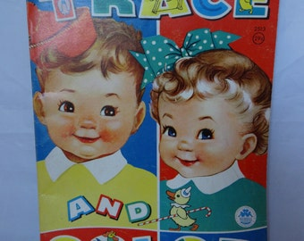 Vintage 60s TRACE & COLOR Coloring Book CHILDREN Room Decor by Merrill Co. Publishers About 1/2 Colored