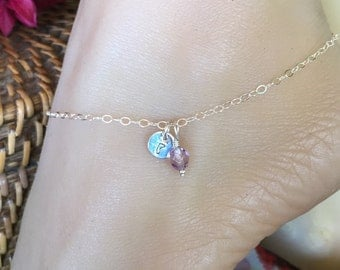 Sterling Silver custom monogrammed tag charm anklet with colorful bead of choice. Adjustable up to 10 1/2 inches.  Ankle bracelet