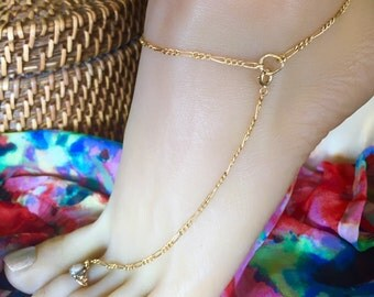 Special Gold Filled Shoeless Sandal Anklet with Toe Ring Barefoot Jewelry Ankle Bracelet, Plain Simple Anklet