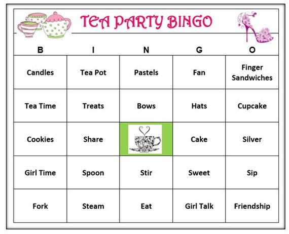 Tea Party Bingo Game (60 Cards) Tea Party, Girl Time, Tea Time Theme Bingo Words -Very Fun! Print and Play!