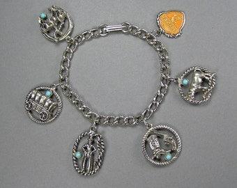 Wild West Charm Bracelet, Tourist Bracelet, 60's, Faux Turquoise, Southwest Jewelry