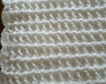 White Waffle Stitch Baby Afghan With Scallop Border - Ready to be Shipped