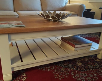 Solid Oak Cottage Chic Coffee Table