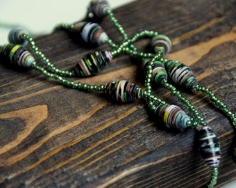 Rainforest Green Paper Bead Necklace