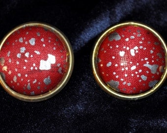 Vintage Red Fabric Button Earrings