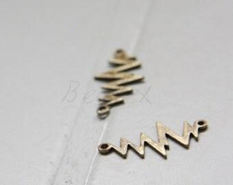 4 Pieces / Antique Brass / Z / Link / Brass Base (C1728//D523)