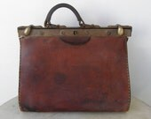 FRENCH LEATHER SATCHEL Chestnut Brown Travel Cse or Hand Bag 2 Metal Closures Double Stitched Handle Roomy Interior Lock Loop France 1920's