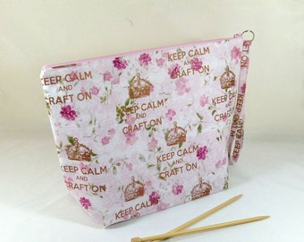"Knitting Project Bag - Large Zipper Wedge Bag in Floral ""Keep Calm and Craft On"" Quilting Fabric with Pink Cotton Lining"
