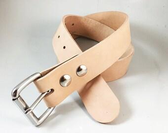 "Raw Leather Belt - 1.5"" in Strap Width - Handmade"