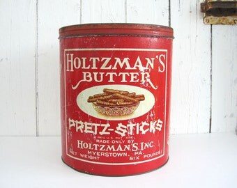 Vintage Large Tin Rustic Advertising Holtzman's Butter Pretzel Glass Top Country Store Display Large Six Pound Container Red