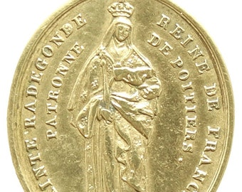 Saint RADEGONDE QUEEN of FRANCE Bronze Medal Pendant 1833 on Black Cord