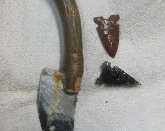 Arkansas Novaculite knife blade with deer antler handle