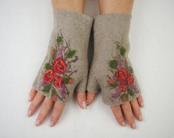 Felted Fingerless Gloves Fingerless Mittens Arm warmers Wristlets Merino Wool