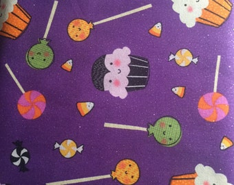 Purple Halloween Candy Cupcake and Lollipop Fabric BTY cotton
