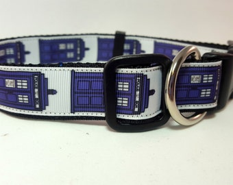 Dog Collar -Adjustable - Dr. Who Tardis Inspired