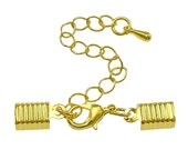 10 Gold Cord Ends with Lobster Clasp & Extender Chain / Ribbon Crimp / Crimp Ends / Fold Over Crimps 75642-6.H3I