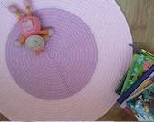 Round rug, floor rug, nursery rug, floor mat, kid's room rug, crochet rug, doily rug, circle rug, baby girl nursery decor, pink, purple rug